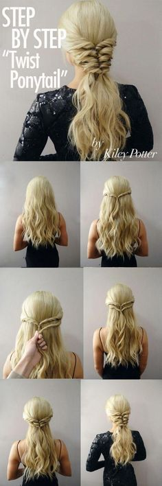 Try A Different Look With The Twist Pony Tail #hair #hairstyle #ponytail #womentriangle #christmas