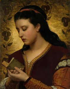 """Lady reading a book"" (modified) 1876 .Attilio Baccani (1844-1889) Italian painter. #reading #books"