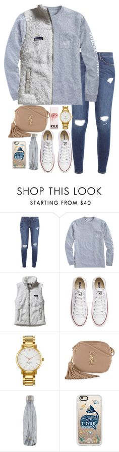 """""""Untitled #265"""" by valerienwashington ❤ liked on Polyvore featuring Frame, Vineyard Vines, Patagonia, Converse, Kate Spade, Yves Saint Laurent, S'well and Casetify"""