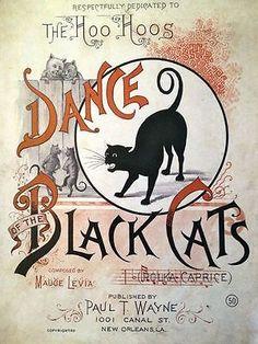 Dance-of-the-Black-Cats-REPRO-PRINT-1800s-Sheet-Music-Vintage-Halloween-Decor