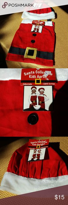 Kid's Festive Chef Apron and Hat NWT Santa This is a new with tags really cute outfit! It is a Santa inspired apron and matching chef hat. It can be used for both boys and girls. It is made of 100% cotton. The hat is adjustable with velcro. Any child will love this! It comes from a smoke-free environment. Fast shipping. Costumes Seasonal