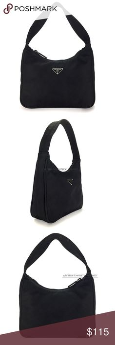 "PRADA Italy Vintage TESSUTO Sport Small Baguette 396. PRADA Made In Italy Vintage ""TESSUTO"" Sport Black Nylon Hobo Style Small Baguette. Black nylon outer-shell, double lined  thick strap, outer rounded seam with ""PRADA"" triangle logo plaque, silver square ""PRADA/ MADE IN ITALY,"" authentic plaque. Length-~8,"" Width-2.5 ~, Height (With Strap) -~11."" GENTLY USED. Slightly noticeable outer-shell wear: barely noticeable spotting, barely noticeable posterior wear, barely noticeable strap wear…"