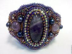 """Купить Браслет """"Фиолет"""" - фиолетовый, браслет, браслет из бисера, браслет с камнями, кабошон, аметист, жемчуг"""
