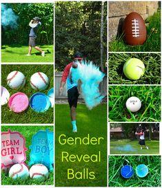 bolas que soltam po de giz com a cor rosa ou azul para saber o sexo do bebe
