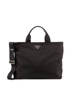 d05908eec52 Get free shipping on Prada Medium Double-Handle Nylon Tote Bag