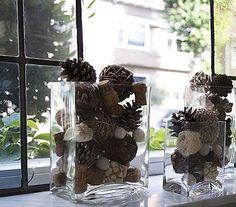 fensterbank dekorieren mit zapfen