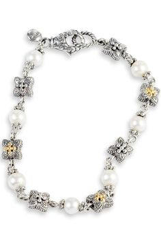 White Pearl Silver and Gold Accent Bracelet | Cirque Jewels