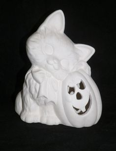 Handcrafted in The USA Witch Halloween Candle Climbers - Unpainted Ceramic Bisque Set of 2