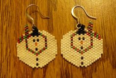 Snowman Beaded Earrings by DoubleACreations on Etsy, $18.00