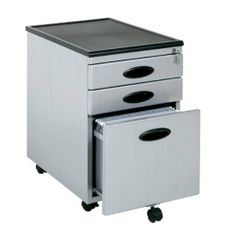 """Mobile File Cabinet - Black and Silver Finish by TDM. $159.98. Features All metal construction with plastic molded top. Locking drawers for security. Lower drawer holds letter or legal size hanging files. Casters for mobility with two locking. Silver/Black. Dimensions W:15 1/2"""" (39.3cm) D:22"""" (55.8cm) H:22 3/4"""" (60.3cm)"""