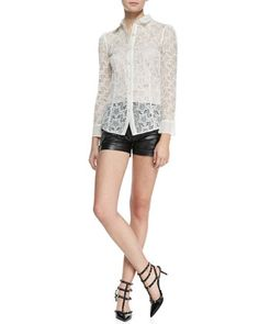 Long-Sleeve Star Embroidery Button-Down Blouse & Vintage Effect Leather Shorts by RED Valentino at Neiman Marcus.