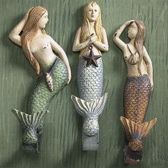 Set of all Three Mermaid Wall Hooks - New Age, Spiritual Gifts, Yoga, Wicca, Gothic, Reiki, Celtic, Crystal, Tarot at Pyramid Collection