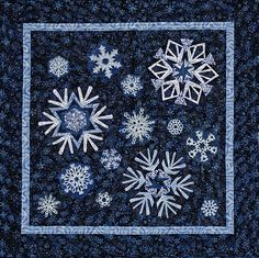 Snow Flurries, 40 x 40, paper pieced by Peggy Martin