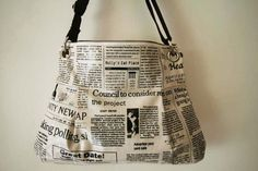 2 way Hobo bag  with shoulder strapnewspaper by Womensgirl on Etsy, $53.80