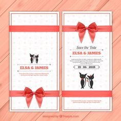 Wedding invitation with cute cats Free Vector