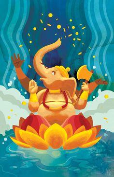 #Ganesha #Ganesh #hindu #art #lotus
