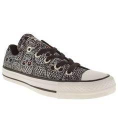 Black & White Converse All Star Ox V Lace Print at schuh