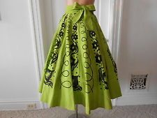 Vintage 1950's Mexican Circle Skirt by Arte Green.  Sz. M  Chartreuse & Black