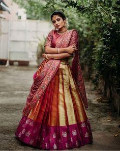Indian Bridal Fashion, Engagement Outfits, Half Saree, Saree Wedding, Bridal Style, Lehenga, Fashion Dresses, Sari, Clothes