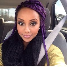 I so badly wanna put color in my daughter's hair. She would pull it off like a rockstar. Purple box braids #naturalhair