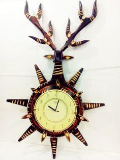 Wooden Wall #Clock Ajanta Antique Deer Head Design Largest  #wallclock #woodenclock #antiqueclock #designerclock #craftshopsindia