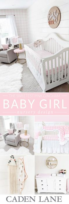 We're in LOVE with this sweet Pink Gingham Baby Girl Nursery with touches of gray.
