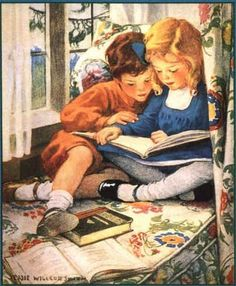 This image reminds me of me and one of my four sisters. I would read whatever I could to them...it was most enjoyable if it had pictures to go with the story that I was reading them. I really had a niche for reading, and when I was the narrator I would even make the sounds of the different characters.
