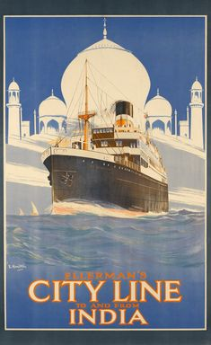 ERNEST JAMES HAMILTON, circa 1924 Taj Mahal, Travel Posters, Hamilton, Boat, India, Movies, Movie Posters, 2016 Movies, Dinghy
