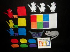 Items similar to Mouse Paint Felt Booard Story Set - 27 Felt Pieces on Etsy Felt Projects, School Projects, Projects To Try, Preschool Library Center, Felt Games, Mouse Paint, Felt Board Stories, Preschool Colors, Felt Boards