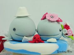 Custom Light Blue Whale Wedding Cake Topper with by Garden4Arts