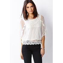 Blusas blancas de encaje moda casual elegante 8