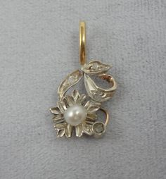 Art Deco Pendant in Sterling and Gold, Sweet Pearl and Flower Motif PDGD183D on Etsy, $135.00
