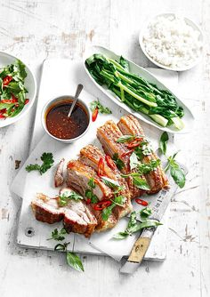 Irresistible crackling, sumptuous dipping sauce and gorgeously steamed veggies…