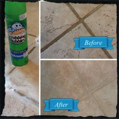 Use Scrubbing Bubbles to clean tile grout.  Spray along grout line, wait, and cleans up easy with a brush! Just did my grout 10/18/13!