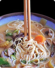 Hearty Vegetable Miso Soup | Chocolate Covered Katie.  - I made an approximation of this with random sauteed veggies, miso, veggie broth, and a large scoop of turmeric. I also cooked the brown rice noodles in the broth which thickened up the broth and gave the noodles great flavor. Everyone loved it!
