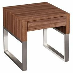 """Midcentury-inspired end table with nickel-finished legs and 1 drawer.  Product: End tableConstruction Material: Engineered wood, melamine and metal Color: Walnut and nickelFeatures:  Extra wide drawer for storageDurable melamine coated surface Dimensions: 22.25"""" H x 22.25"""" W x 22.25"""" D"""