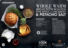 Whole warm bread with roasted pineapple and camembert. Masterchef/WW Recipe Placemats by Laura Wall, via Behance