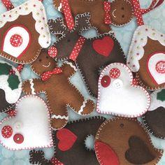 Handmade Felt Christmas Hanging Decoration by yvonne Handmade Christmas Decorations, Felt Decorations, Felt Christmas Ornaments, Christmas Fun, Gingerbread Ornaments, Diy Ornaments, Gingerbread Man, Button Decorations, Gingerbread Decorations