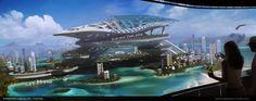 City Landscape, Landscape Architecture, Arcology, Futuristic Robot, City C, Space Fantasy, Fantasy Art, Space Artwork, Spaceship Art