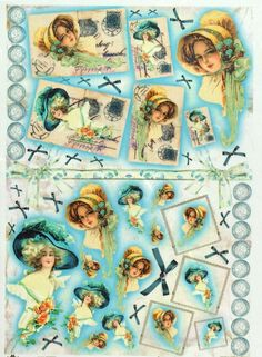 Rice Paper for Decoupage Decopatch Scrapbook Craft Sheet Vintage Lady with Blue