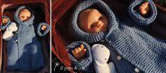 """Baby knit hooded sleeping bag handmade in Italy by Atelier Faggi -  Maglioncino versione sacco nanna per i più piccoli appena nati in color celeste con bottoncini rosa... by """"à propos de..."""" Atelier Faggi."""