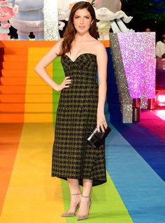 Anna Kendrick in a green and black houndstooth midi dress