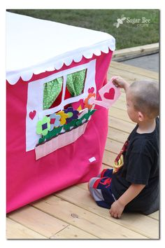 My First Playhouse by MissPrettyPretty - Sugar Bee Crafts Sewing Projects For Kids, Sewing For Kids, Diy For Kids, Crafts For Kids, Card Table Playhouse, Playhouse Plans, Reading Nook Tent, Teen Bedroom Designs, Girls Bedroom