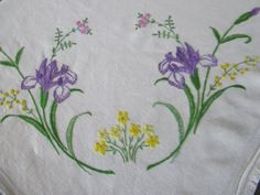 VINTAGE TABLECLOTH HAND EMBROIDERED FLOWERS,IRIS,VIOLETS,PRIMROSES............ in Antiques, Fabric/ Textiles, Linens | eBay
