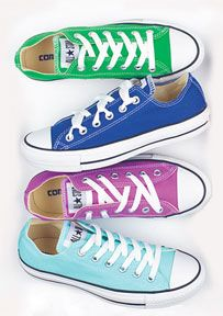 Converse!! I want some so bad!!!! =) I had a pink pair a long time ago but I want some new ones like SOON!!!!!! and these colors are awesome!!
