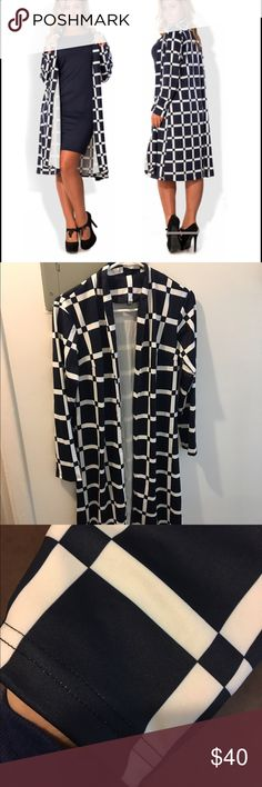 Long cardigan Beautiful cardigan, dark blue and white polyester fabric Sweaters Cardigans