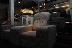 Vismara Design Chest Recliner Seat with Lift Mechanism that reveals a secret bar on the arm!  #vismaradesign #reclinerseat #hometheater #madeinitaly #italianfurniture
