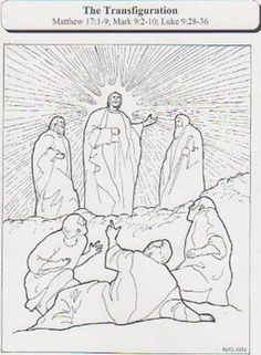 Lent 2014 coloring activity for children: 'The Transfiguration'