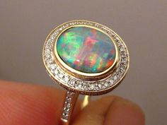 Beautiful Red & Blue Harlequin Opal & Diamond Ring 14k Gold