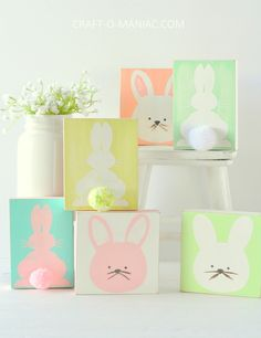 DIY Bunny Stenciled Blocks - Craft-O-Maniac